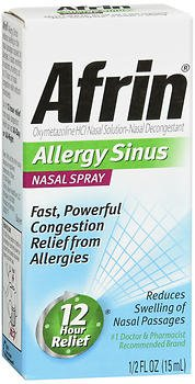 Afrin Nasal Spray 12 Hour Relief, Allergy Sinus, 0.5 fl oz (Pack of 6) -  Merchandise, 0298689