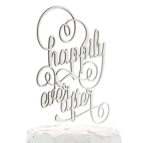NANASUKO Wedding Cake Topper - happily ever after - Double Sided Silver Glitter - Premium quality Made in USA