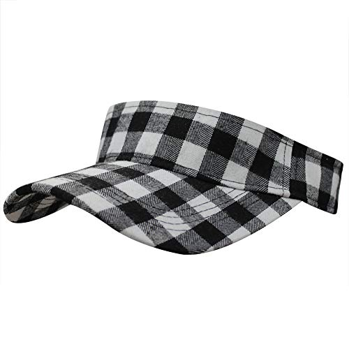 Summer Outdoor Sports Beathable Long Brim Empty Top Baseball Sun Cap Hat Visor (Plaid White) ()