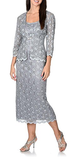 R&M Richards Long Mother of Bride Dress Formal Lace Jacket
