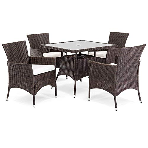OAKVILLE FURNITURE 61205 5-Piece Patio Set Square Glass Top Dining Table with Standard Umbrella Hole 4 Outdoor Chairs, Brown Wicker, Beige Cushion (Imported Outdoor Furniture)