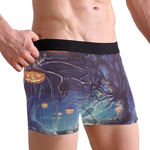 Scary Graveyard Pumpkins Bats Men's Sexy Boxer Briefs Stretch Bulge Pouch Underpants -