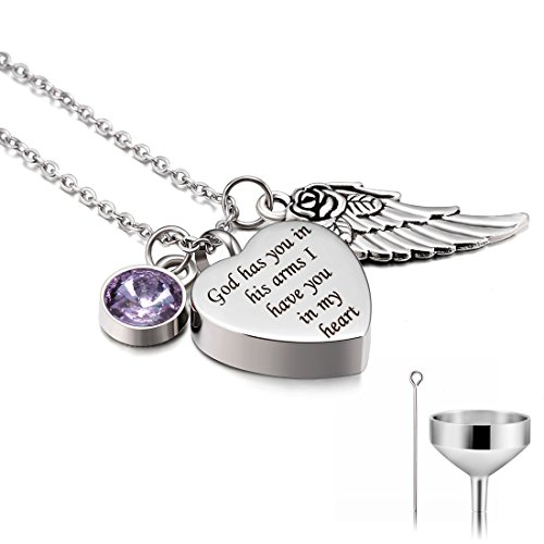 - CAT EYE JEWELS God has you in his arms with Angel Wing and June Birthstone crystal Charm Stainless Steel Cremation Jewelry Keepsake Memorial Urn Necklace with Funnel Kit Included N006