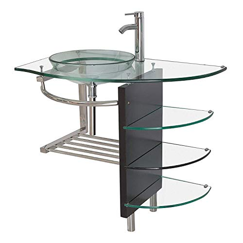 36 Inches Wide Contemporary Bathroom Glass Vessel Sink Vanity Combo/Faucet/pop-up ()