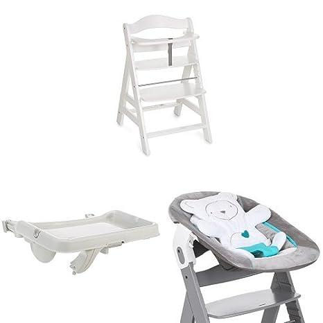 Hauck Newborn Set (3 Piezas): Trona Alpha en blanco + Hamaca (Cojin reductor: Osito) en gris + Bandeja en blanco