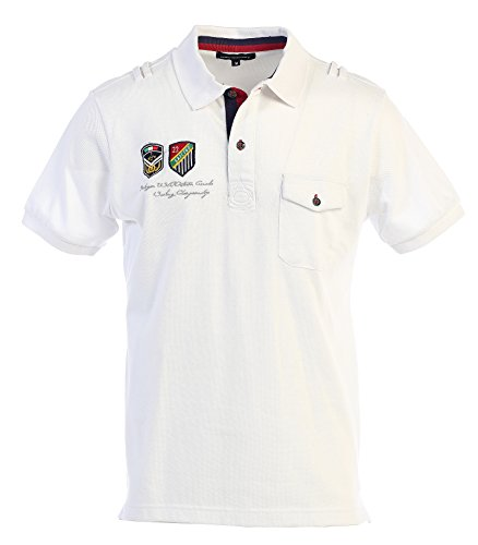 Gioberti Yacht Club Mens Pique Polo Shirt, White, Size L