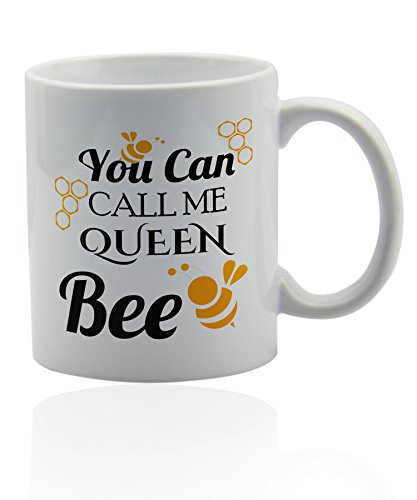Queen bee white ceramic mug for coffee or tea 11 oz. Gift cup. Bee Mug