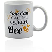 Queen bee white ceramic mug for coffee or tea 11 oz. Gift cup.