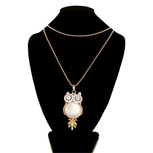 Jovana Retro Big Eye Owl Pendant Design Necklace(Gold) - Necklace Of Owl