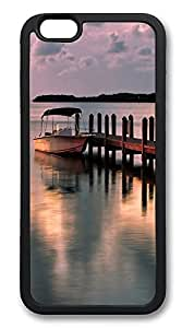 iPhone 6 Cases, Moored Boat Scenery Durable Soft Slim TPU Case Cover for iPhone 6 4.7 inch Screen (Does NOT fit iPhone 5 5S 5C 4 4s or iPhone 6 Plus 5.5 inch screen) - TPU Black