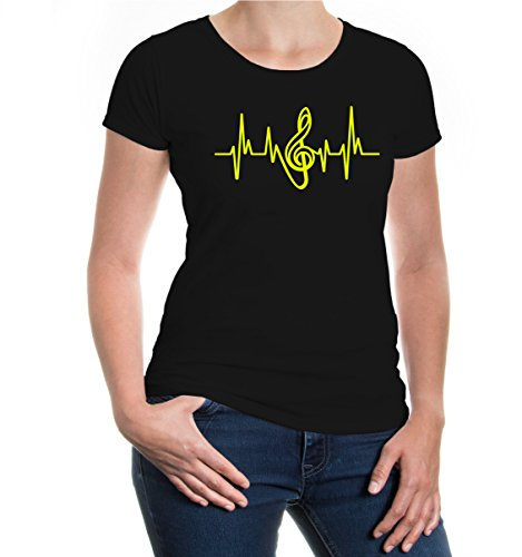 buXsbaum® Girlie T-Shirt Music-Frequency-Clef Black