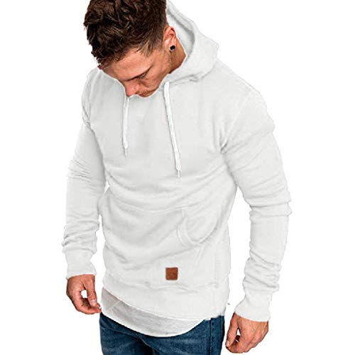 YAYUMI Men's Long Sleeve Hoodies Autumn Winter Solid Color Casual Sweatshirt Hoodies Top Blouse Tracksuits White (Different Types Of Trading In Stock Market)