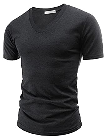 TheLees (CA05) Mens Casual Slim Fit V-neck Short Sleeve