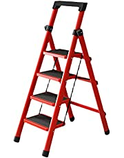 4 Step Ladder for Home & Kitchen, Folding Step Stool with Anti-Slip Pedal, 500 Lbs Heavy Duty Step Ladder for Adults, Lightweight & Portable Steel Step Stool, Fully Assembled, Red & Black
