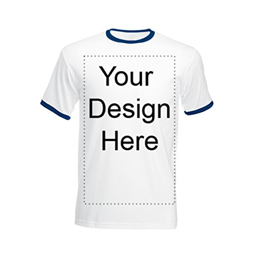 Add Your Own Personalized Message or Image Custom Text Name Men Ringer T-Shirts, Mens-White/Navy-XLarge