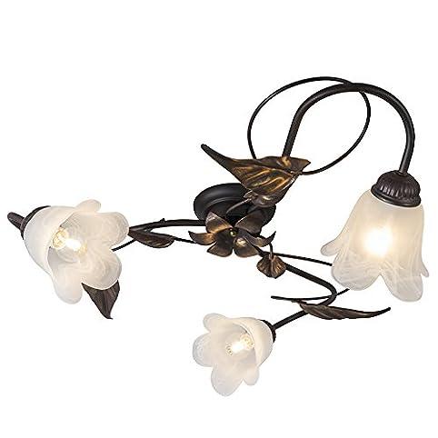 qazqa klassisch antik landhaus vintage rustikal deckenleuchte deckenlampe lampe - Deckenlampe Wohnzimmer Antik