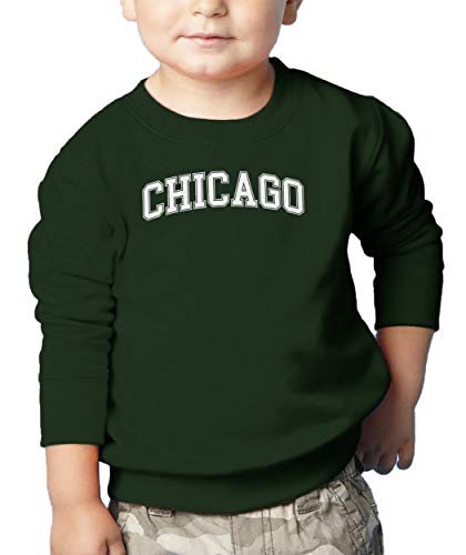 HAASE UNLIMITED Chicago - State Proud Strong Pride Toddler Fleece Crewneck Sweater (Forest Green, 3T) -