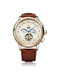 JARAGAR Automatic Mechanical Flywheel Leather Commercial Watch
