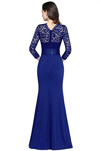 Dentelle 3 Bleu Babyonlinedress Longue D'honneur De Manches Royal Demoiselle Robe Soirée Plissée Femme 4 Sirène En 3j5ARL4q
