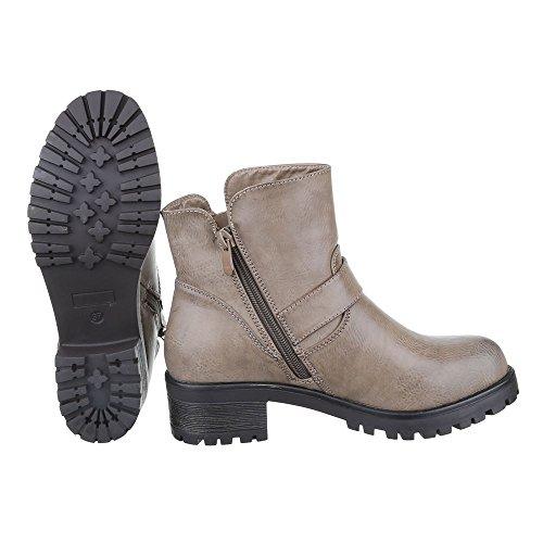 Ital-Design - botas estilo motero Mujer Grau Braun