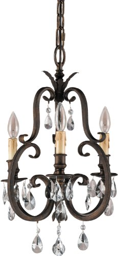Feiss F2226/3ATS Salon Maison Crystal Candle Chandelier Lighting, Bronze, 3-Light (14