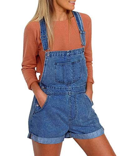 Vetinee Women's Dark Blue Classic Adjustable Straps Cuffed Hem Denim Bib Overall Shorts Large