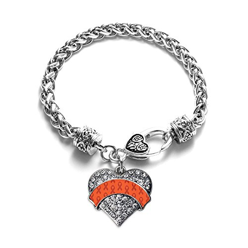 Orange Ribbon Support Pave Heart Charm Bracelet Silver Plated Lobster Clasp Clear Crystal Charm