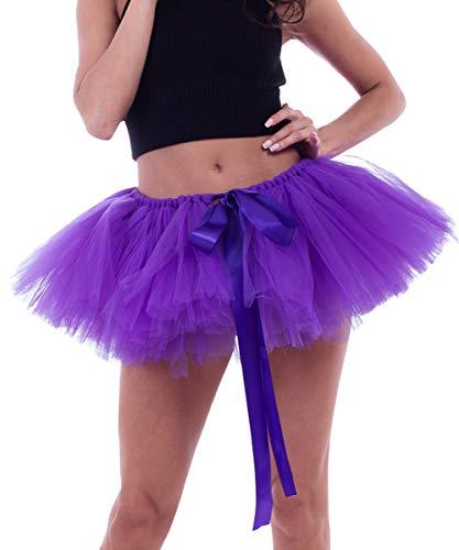Jupon Tulle Tutu Femme Ballet Dguisement Jupe Bouffant Extensible Vintage Fte Carnaval Soire Jupettes Pliss Cocktail Cadeau Noel Nouvel an Taille 65-100CM Longue Jupon 25CM Photo 3