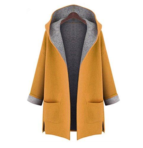 Mujeres Sólido que Diario Abrigo Primavera con Cardigan Yellow Abrigo Otoño Manga de lana larga Casual capucha Largo salen Invierno OOr7dq