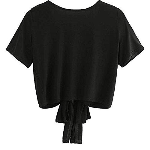 (Aniywn Women Bow Short Sleeve Backless Short T Shirt V-Neck Pure Tank Top Blouse Tops)