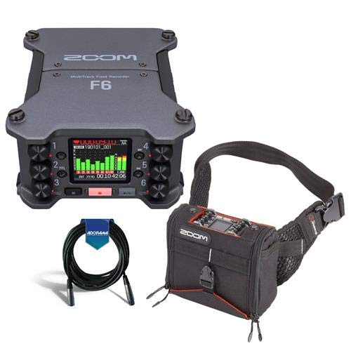 Zoom F6 Multi-Track Field Recorder - Bundle with K-Tek KSF6 Stingray Bag F6, 20' Heavy Duty 7mm Rubber XLR Microphone Cable