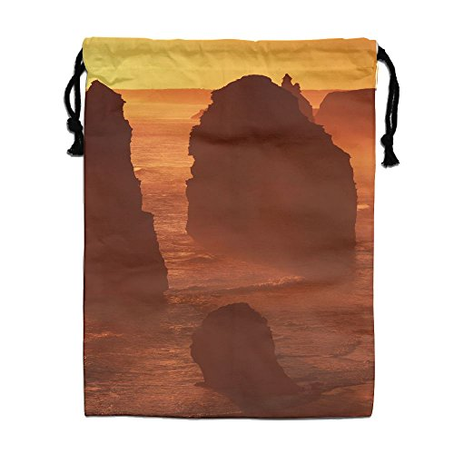ZhiqianDF Sunset Twelve Apostles Great Ocean Road Australia Jogging White Shoulder Bags One Size Polyester Drawstring Bag