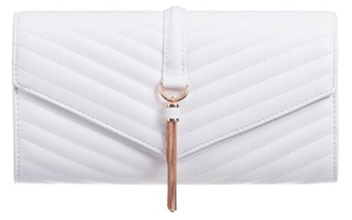 Girly Girly Clutch Quilted HandBags Tassel HandBags White Bag dwqX15qf