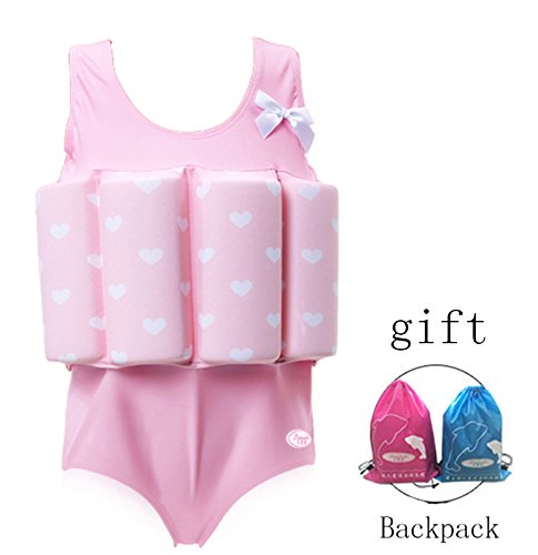 Float Suit - Lemandii One-Piece Children Buoyancy Swimsuit Swim Vest Detachable Float Swimwear, Perfect for Kids or baby Learn to Swimming (Pink, M)