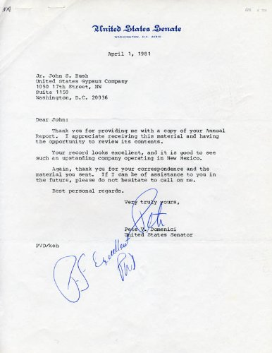 Pete V. Domenici - Typed Letter Signed 04/01/1981
