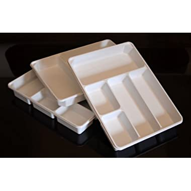 3-PACK of Organizer Trays for Desk, Utensils, Tools, Crafts, Vanity - 15.7  X 11.7  X 2.0  - White