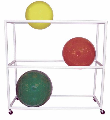 Storage Rack, Exercise Ball, Mobile, White 3 Shelf