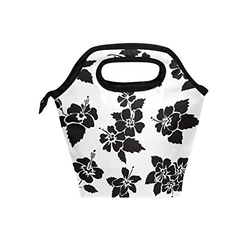 White Hawaiian Hibiscus Flower Petals Reusable Insulated Lunch Tote Bag, Convenient And Simple, Popular Style, Suitable For A Variety Of Occasions.