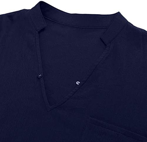 Yutao Mens 3//4 Sleeve Henley Shirt Casual Linen Cotton Summer Loose Fit Beach Shirts