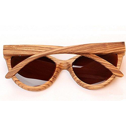 sol para y madera unisex mujeres Gafas planos Lentes gran de de bambú hombres los gafas a sol de tamaño de de espejados sol Beige de mano de gafas polarizadas de Gafas sol UV las hechas gafas sol Protección qRwT6