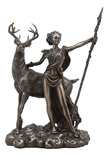 (Ebros Greek Roman Goddess of The Hunt Moon and Nature Diana with Stag Statue Artemis The Huntress Sculpture 11.5
