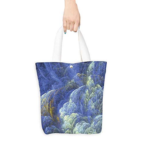 Reusable Shopping Bag 3D Fractal Decor Trippy Fantasy Shapes with Mystic Plasma Artful Pattern With Free 3D Glasses Blue Light Yellow (W15.75 x L17.71 Inch)