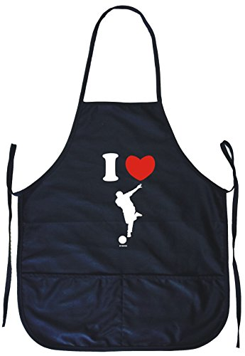 I Heart Love Bowler Guy with Ball Logo Cooking Apron With Pockets