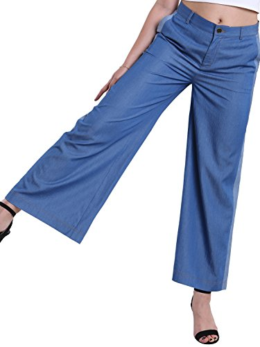Wide Rise Leg Jeans Mid (Fyriona Women's Wide Leg Jeans Palazzo Casual Loose Fit Mid Rise Trousers Contrast Gaucho Pants)