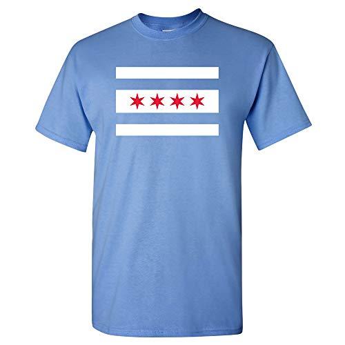 UGP Campus Apparel Chicago US City Flag Basic Cotton T-Shirt - Large - Carolina Blue