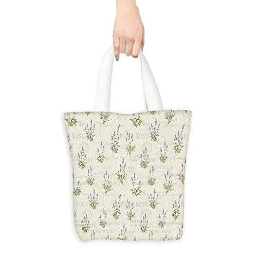 Lavender Canvas Tote Vintage Grunge Pattern with Bunch of Herbal Blossoms Faded Retro Texts Lightweight 16.5