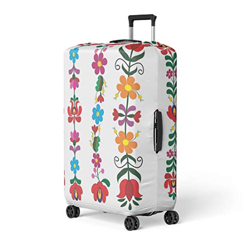 (Pinbeam Luggage Cover Blue Folk Hungarian Pattern Green Ethnic Flowery Transylvania Travel Suitcase Cover Protector Baggage Case Fits 26-28 inches)