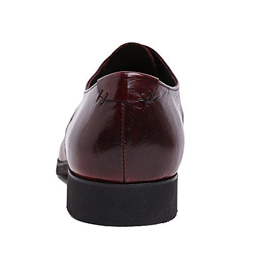 Santimon Mens Äkta Läder Derby Klänning Spets-up Affärs Oxford Skor 1225 Vinröd