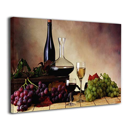 SRuhqu Canvas Wall Art Prints Vintage Red Wine and Grape -Picture Paintings Modern Home Decoration Giclee Artwork-Wood Frame Ready to Hang