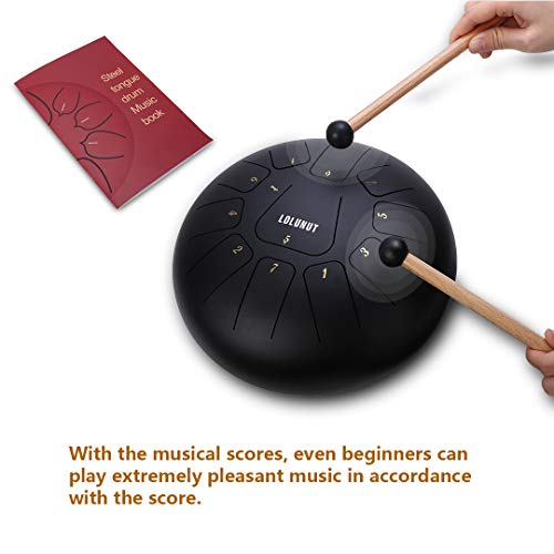 LOLUNUT Steel Tongue Drum Percussion Instruments with Music Score 11 Notes 10 Inches, Applicable to Music Education, Mind Healing, Yoga Meditation (black) by LOLUNUT (Image #1)